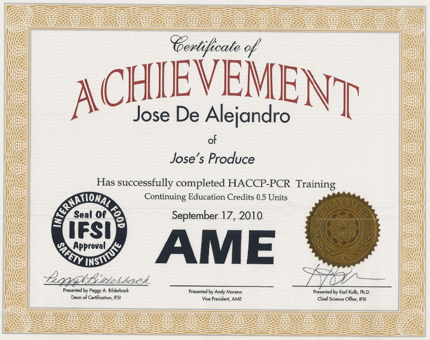 Ifsi Certifications Ame Certified Laboratories In House Food
